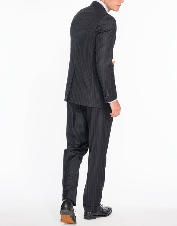 CHARCOAL CHALK STRIPE 2-BUTTON SUIT