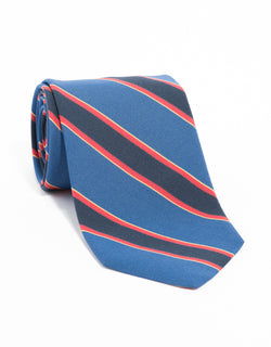 IRISH POPLIN REGIMENTAL TIE - BLUE/NAVY/OLIVE