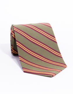 IRISH POPLIN REGIMENTAL TIE - Olive