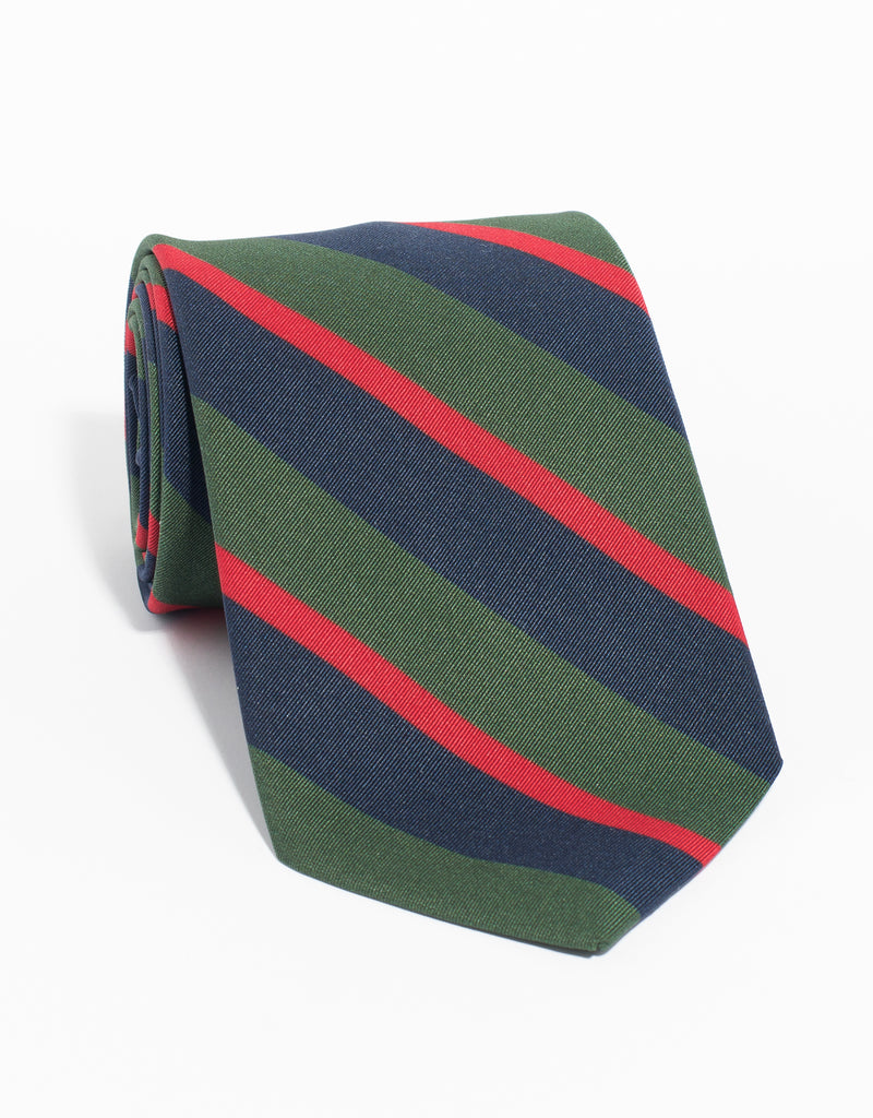 IRISH POPLIN REGIMENTAL TIE - NAVY/OLIVE/RED