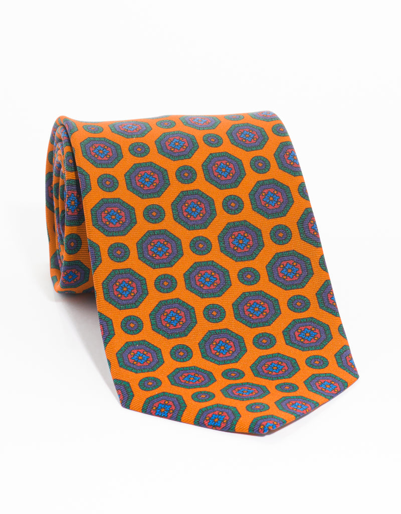 PRINTED MADDER MEDALLION TIE - ORANGE