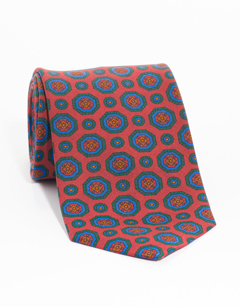 PRINTED MADDER MEDALLION TIE - RED