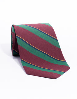 IRISH POPLIN REGIMENTAL TIE - burgundy