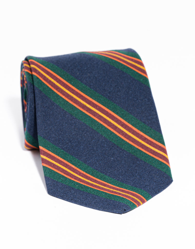 J. PRESS IRISH POPLIN REGIMENTAL TIE - NAVY/GREEN/BURGUNDY