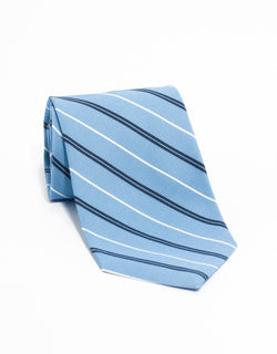IRISH POPLIN REGIMENTAL TIE - LB/NV/WH