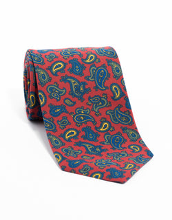 IRISH POPLIN PAISLEY TIE - RED