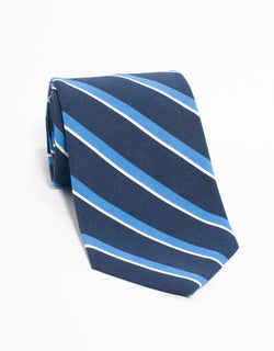 IRISH POPLIN REGIMENTAL TIE - NAVY/LIGHT BLUE/WHITE