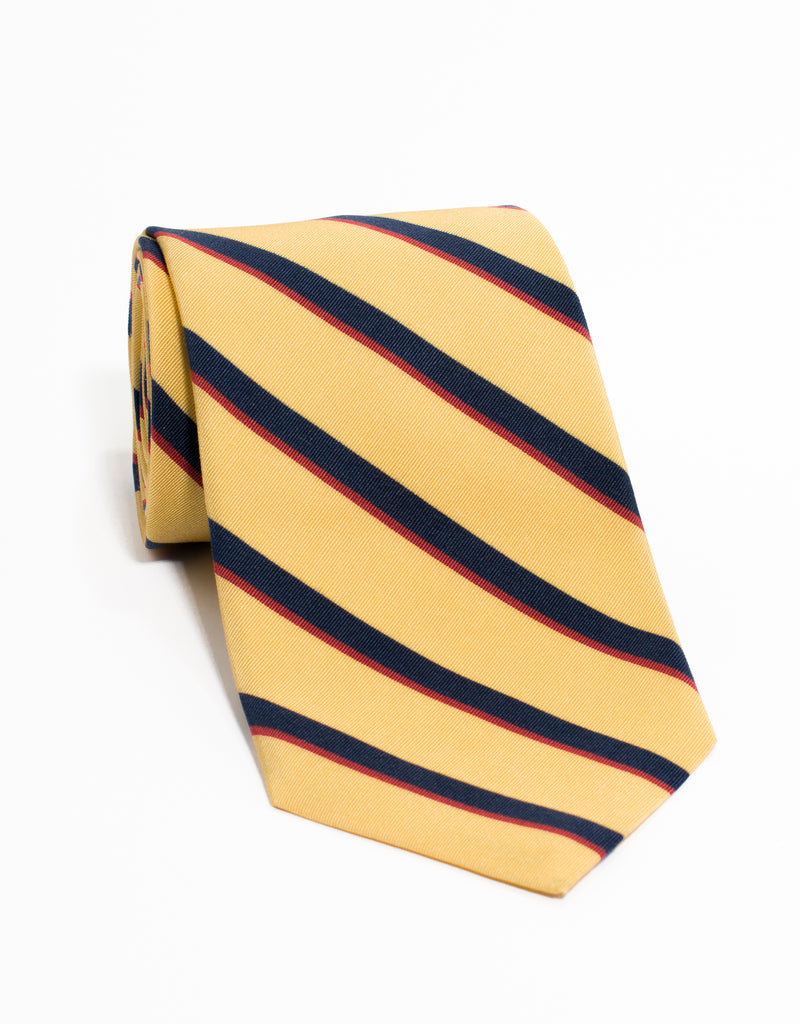 IRISH POPLIN REGIMENTAL TIE - YELLOW/NAVY/RED