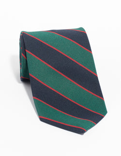 IRISH POPLIN REGIMENTAL TIE - NAVY/GREEN/RED