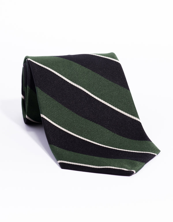 REGIMENTAL TIE- GREEN/BLACK/SILVER