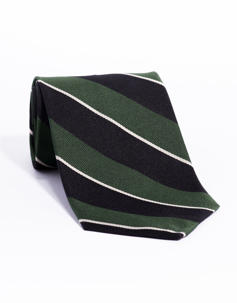 REGIMENTAL TIE - GREEN/BLACK/SILVER