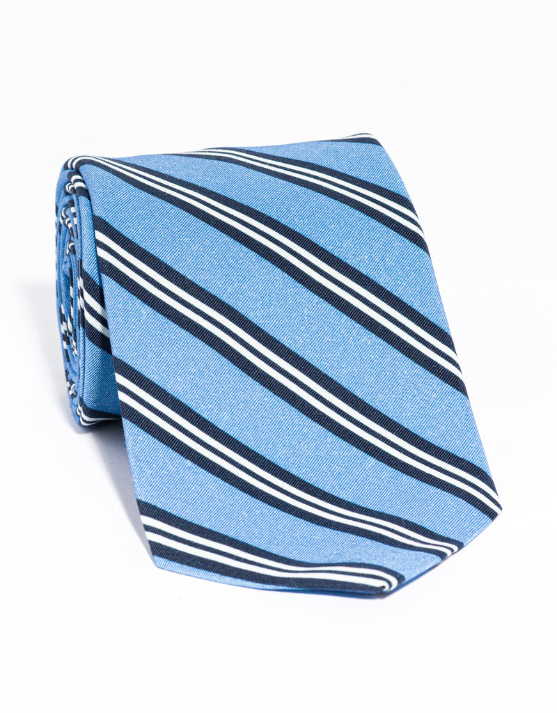 J. PRESS IRISH POPLIN REGIMENTAL TIE - LIGHT BLUE/NAVY/WHITE
