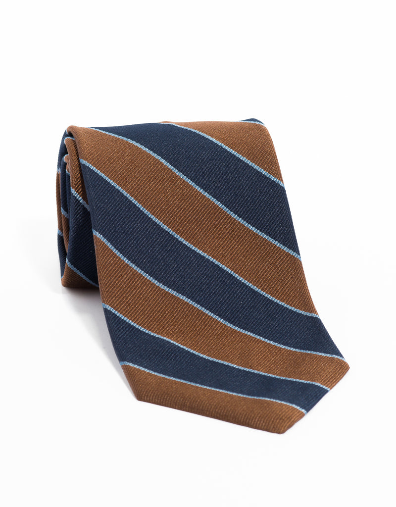 REGIMENTAL TIE - BROWN/NAVY/BLUE