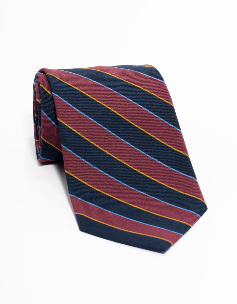 IRISH POPLIN REGIMENTAL TIE - BURGUNDY/NAVY/YELLOW/LIGHT BLUE