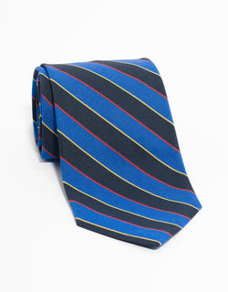 IRISH POPLIN REGIMENTAL TIE - BLUE/NAVY/RED/YELLOW