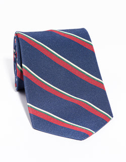 J. PRESS IRISH POPLIN REGIMENTAL TIE -  NAVY/RED/GREEN