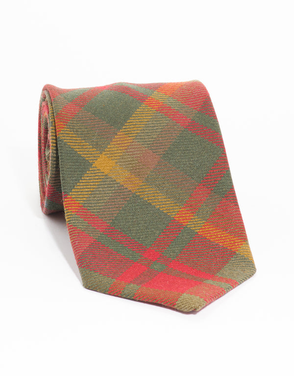 WOOL TARTAN TIE - MAPLE LEAF