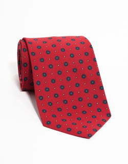 IRISH POPLIN FOULARD TIE - RED