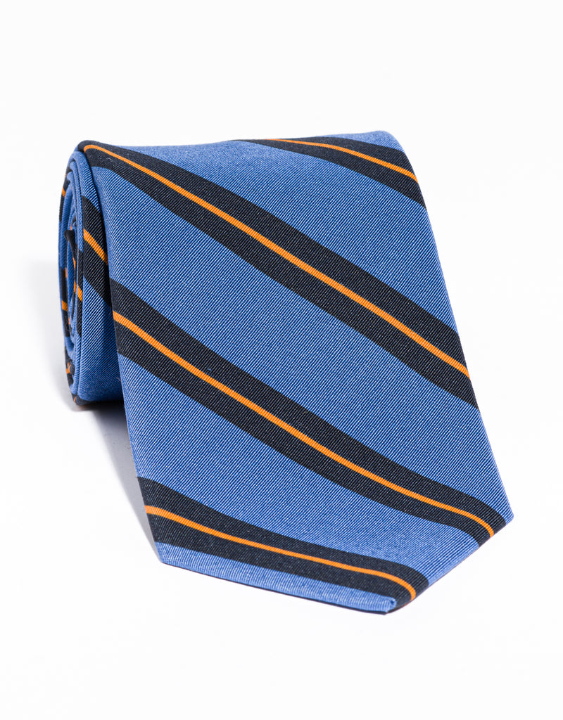 J. PRESS IRISH POPLIN REGIMENTAL TIE -  BLUE/NAVY/ORANGE