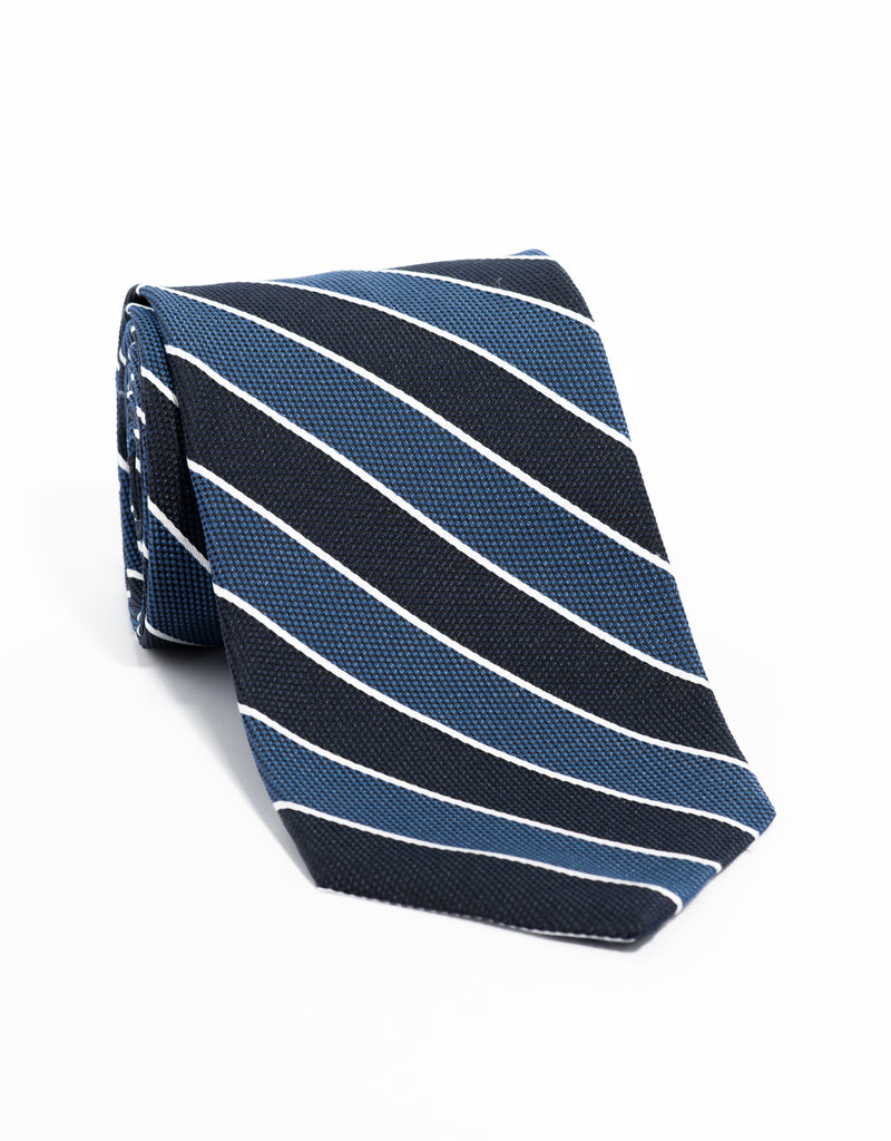 SILK STRIPE TIE- BLUE/NAVY/WHITE