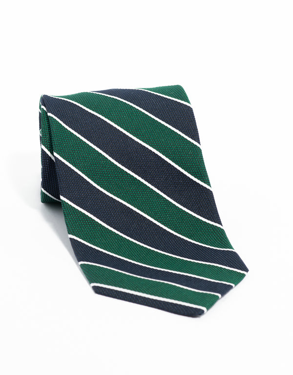 SILK STRIPE TIE- GREEN/NAVY/WHITE