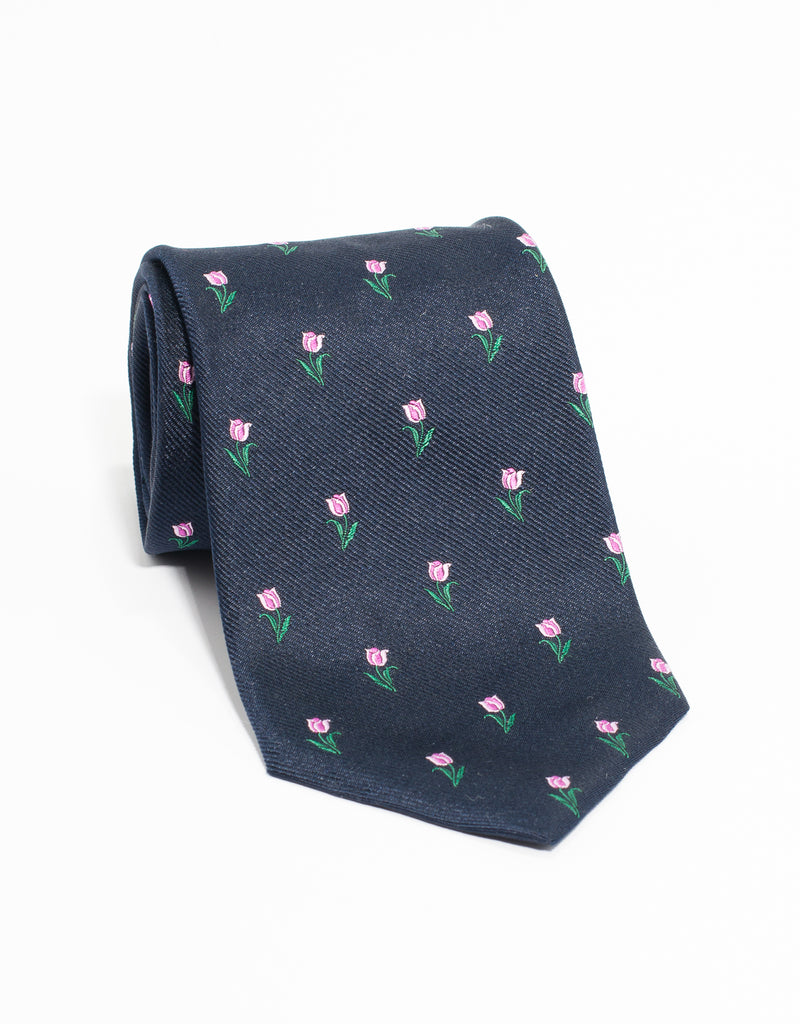 J. PRESS EMBLEMATIC TULIP TIE - NAVY