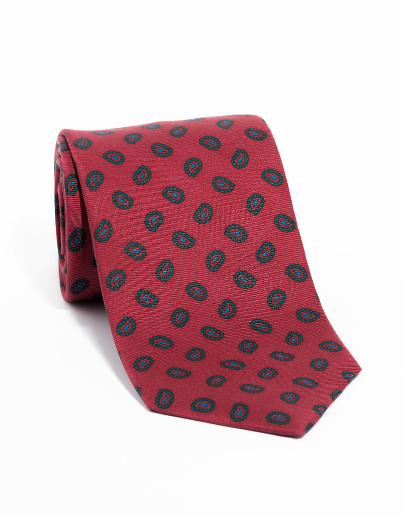 ANCIENT MADDER MED PAISLEY TIE - RED