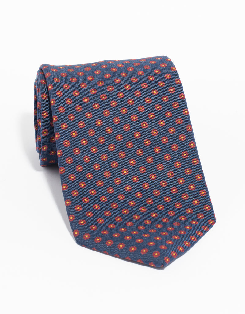 IRISH POPLIN FOULARD TIE - NAVY