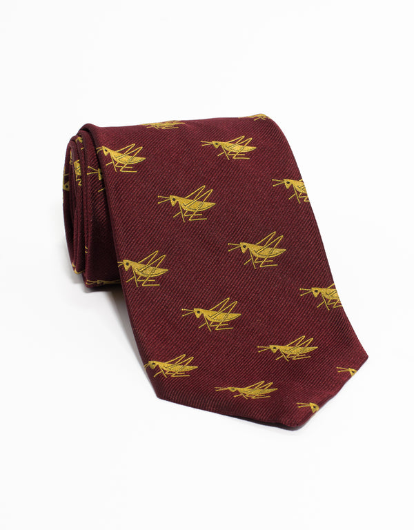 EMBLEMATIC GRASSHOPPER GOLD TIE - BURGUNDY