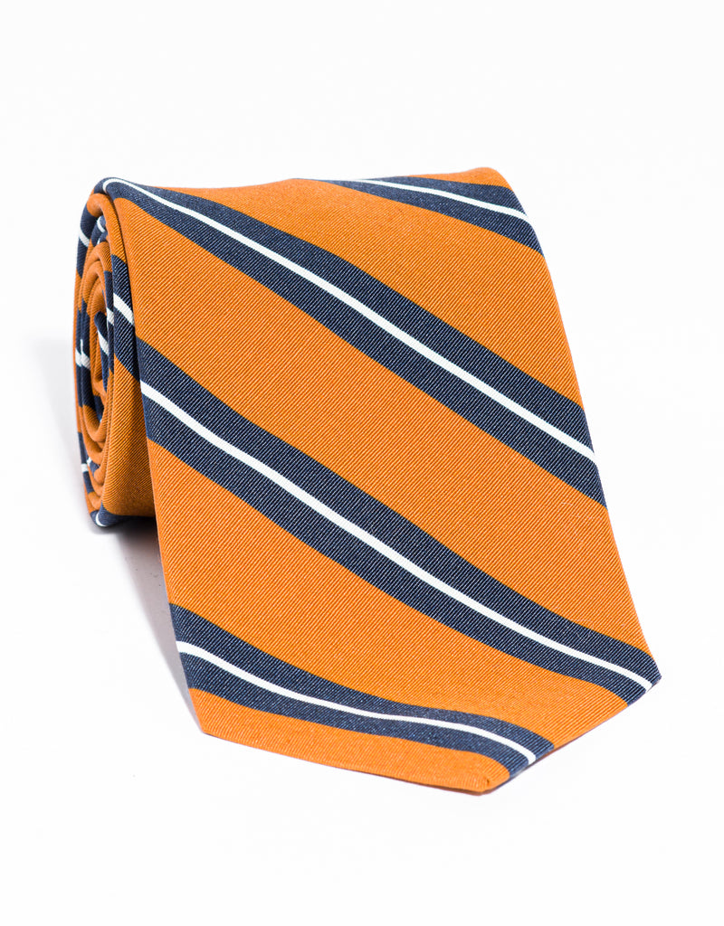 J. PRESS IRISH POPLIN REGIMENTAL TIE - ORANGE/NAVY/WHITE
