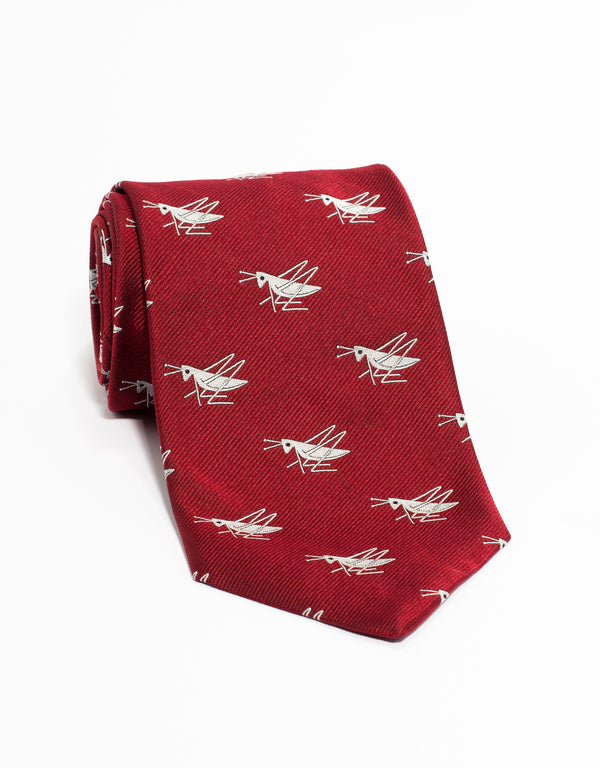 PRINTED CRICKET WHITE TIE - RED