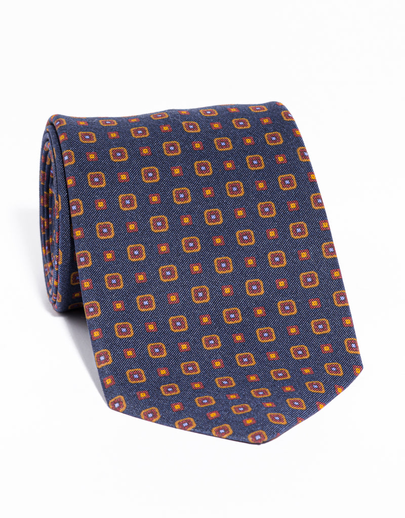 J. PRESS IRISH POPLIN FOULARD TIE - NAVY