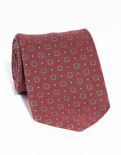 J. PRESS IRISH POPLIN FOULARD TIE - RED