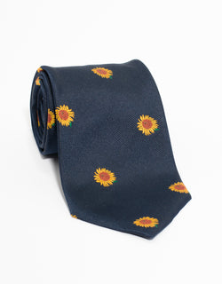EMBLEMATIC SUNFLOWER TIE - NAVY