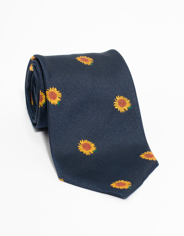 PRINTED SUNFLOWER TIE - NAVY