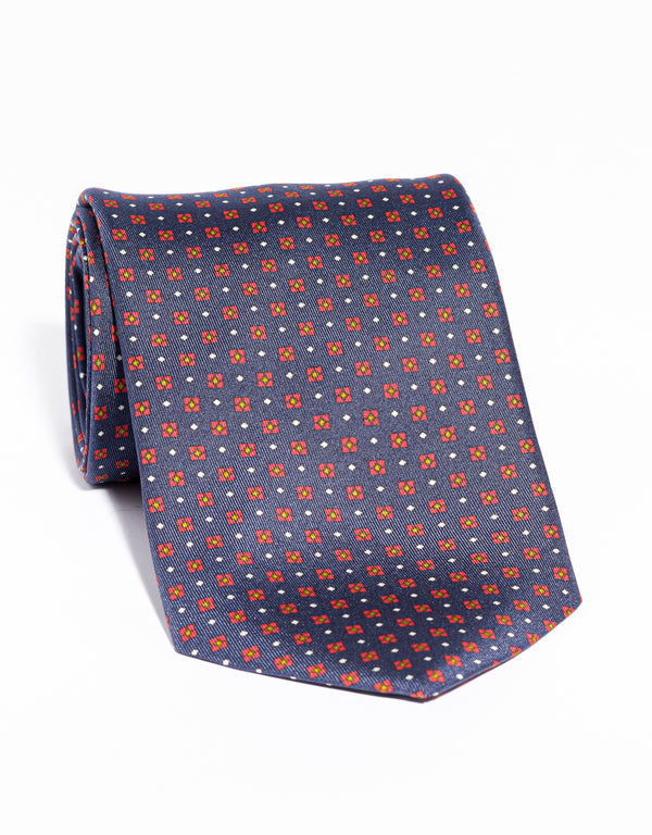 J. PRESS PRINTED SQUARE AND SMALL DIAMOND TIE - NAVY