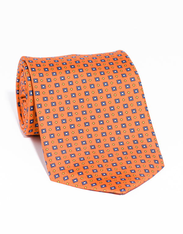 J. PRESS PRINTED SQUARE AND SMALL DIAMOND TIE - ORANGE