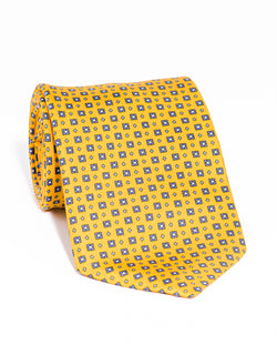 J. PRESS PRINTED SQUARE AND SMALL DIAMOND TIE - YELLOW