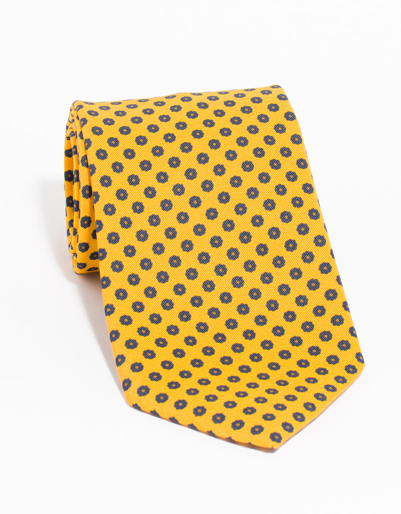 IRISH POPLIN FOULARD TIE - YELLOW