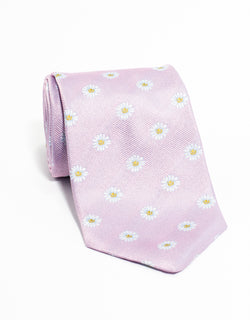 PRINTED DAISY TIE - PINK