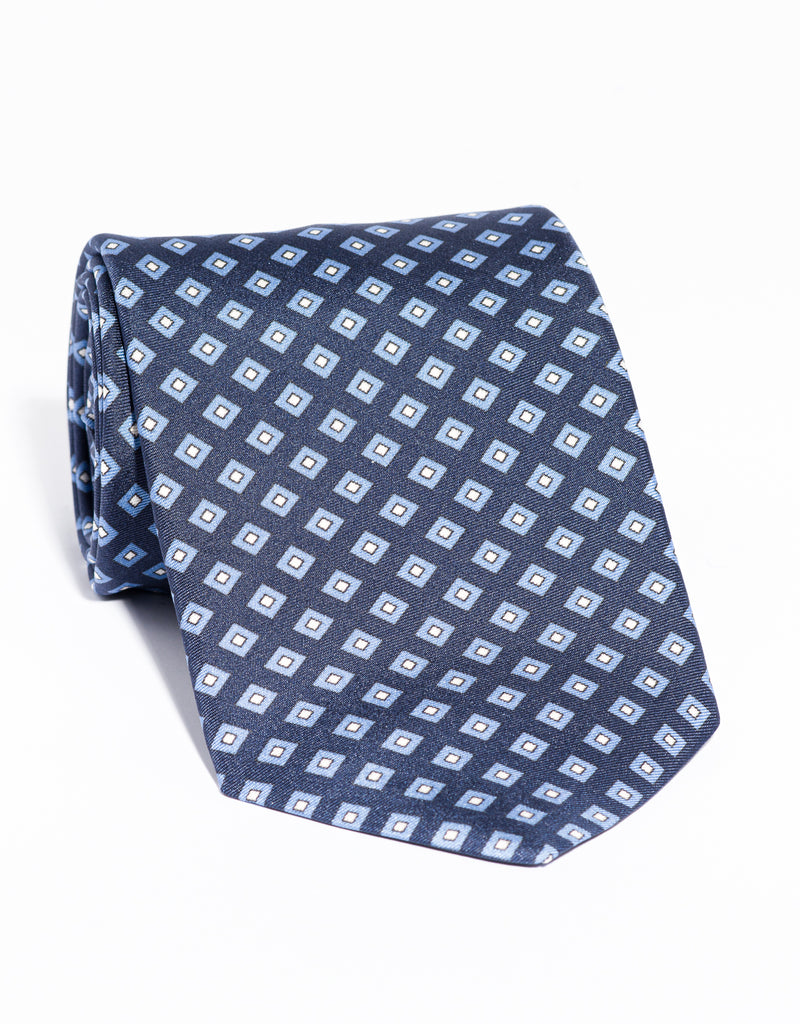 J. PRESS PRINTED SQUARE TIE - NAVY