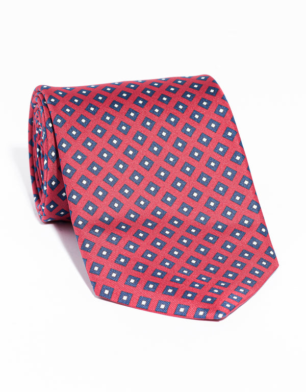 J. PRESS PRINTED SQUARE TIE - RED