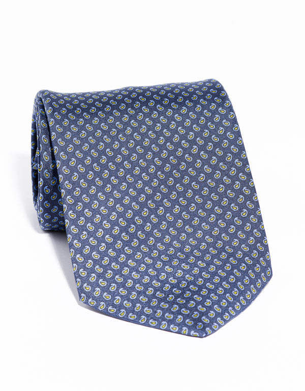J. PRESS PRINTED SMALL PINE TIE - NAVY