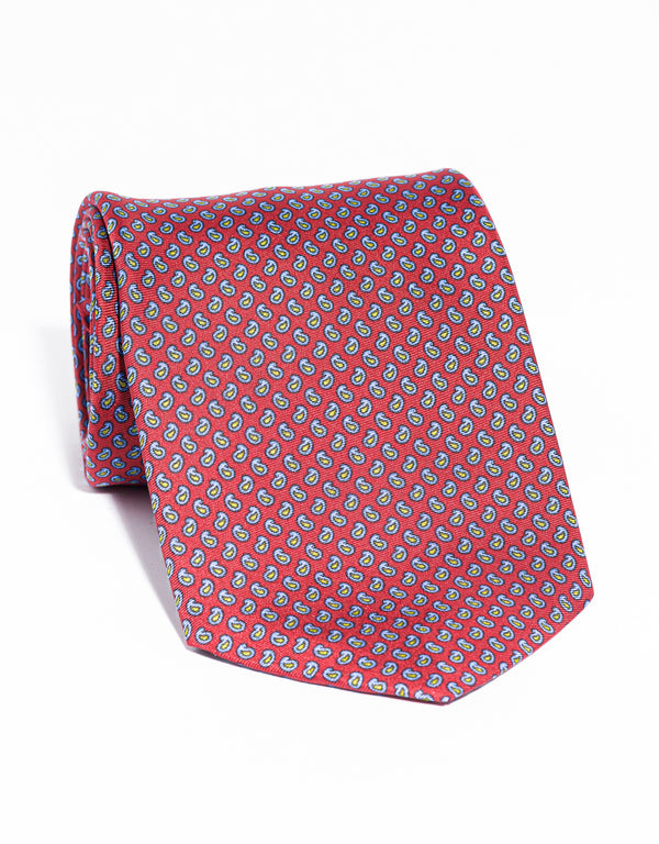J. PRESS PRINTED SMALL PINE TIE - RED