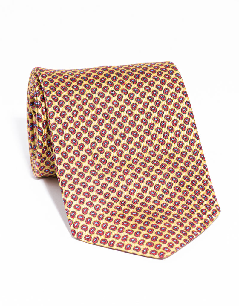 J. PRESS PRINTED SMALL PINE TIE - YELLOW