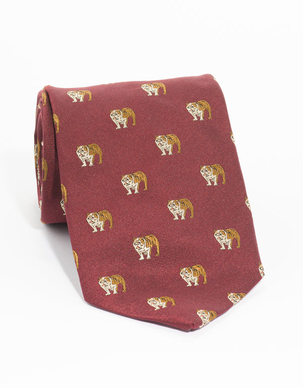 EMBLEMATIC BULLDOG TIE  - BURGUNDY