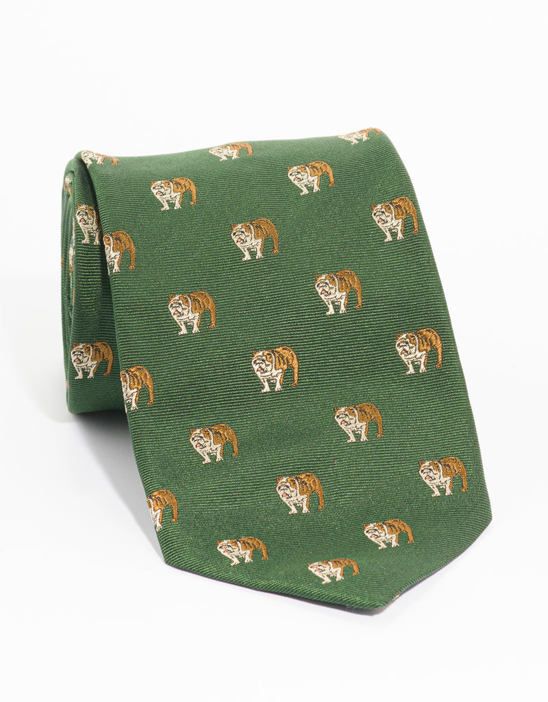 EMBLEMATIC BULLDOG TIE  - GREEN