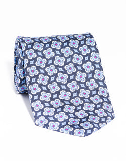 J. PRESS PRINTED FOULARD TIE - NAVY