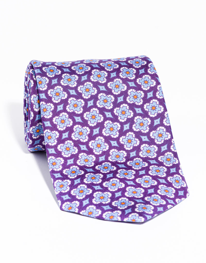 J. PRESS PRINTED FOULARD TIE - PURPLE