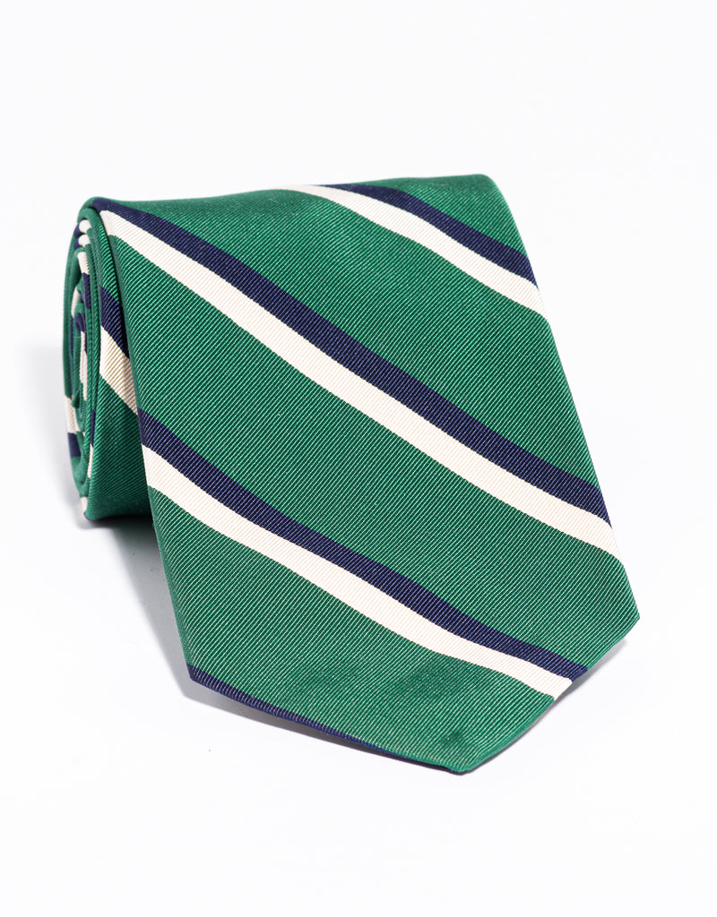 J. PRESS MOGADOR STRIPE TIE - GREEN/NAVY/WHITE
